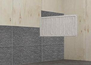 STEP.2 RecoStoneを合板もしくは石膏ボードにシリコンボンドで貼る
